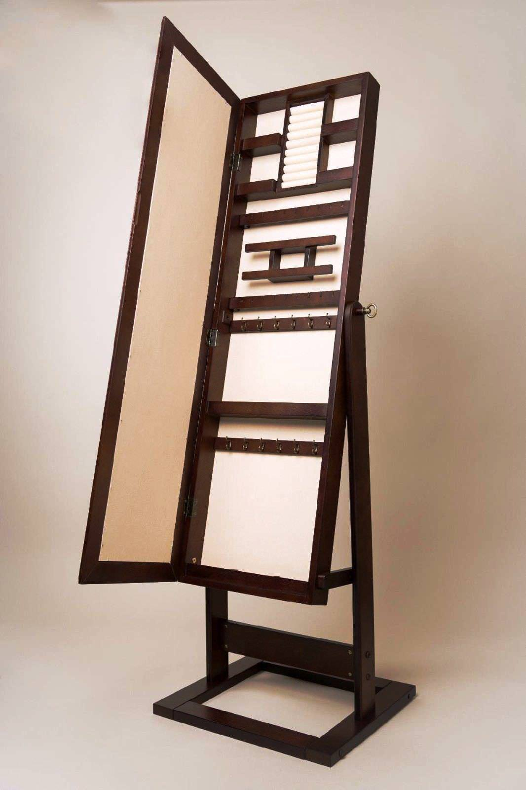 chic woode standing mirror jewelry armoire in brown for home furniture ideas