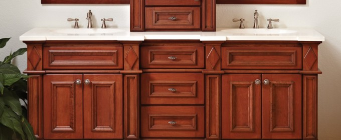 Chic Wooden Bathroom Bertch Cabinets In Brown With White Countertop And Double Sinks And Faucets For Bathroom Decor Ideas
