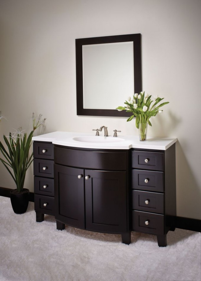 Chic Wooden Bathroom Bertch Cabinets In Espresso With White Top And Single Sink And Faucet Before The White Wall With Mirror For Bathroom Decor Ideas