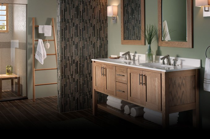 Chic Wooden Bathroom Bertch Cabinets With White Granite Countertop And Sink Plus Faucet Before The Olive Wall With Mirrors And Light For Bathroom Decor Ideas