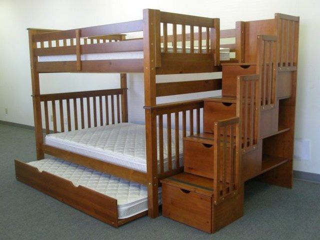 chic wooden Bunk Beds With Stairs and comfortable white mattress for teen bedroom decor ideas