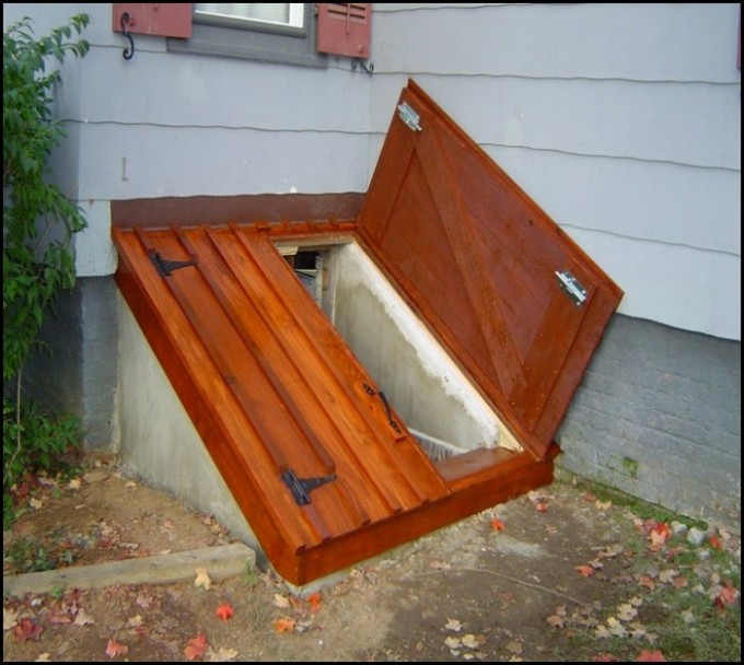 Chic Wooden Cellar Bilco Doors With Black Handle Before The White Siding For Home Exterior Design Ideas