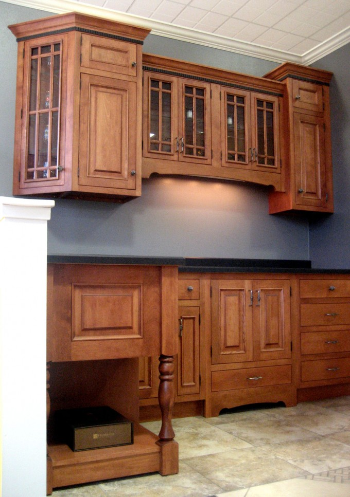 Chic Wooden Kitchen Bertch Cabinets With Black Granite Countertop Before The Blue Wall For Kitchen Decor Ideas