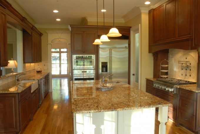 Chic Wooden Kitchen Bertch Cabinets With Granite Countertop And Sink Plus Faucet Under The Pendant For Kitchen Decor Ideas