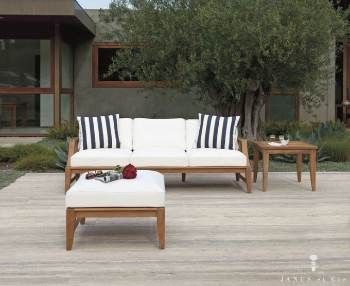 Chic Wooden Sofa With White Cushion Seat And Matching Ottoman By Janus Et Cie Outdoor Furniture For Outdoor Furniture Ideas