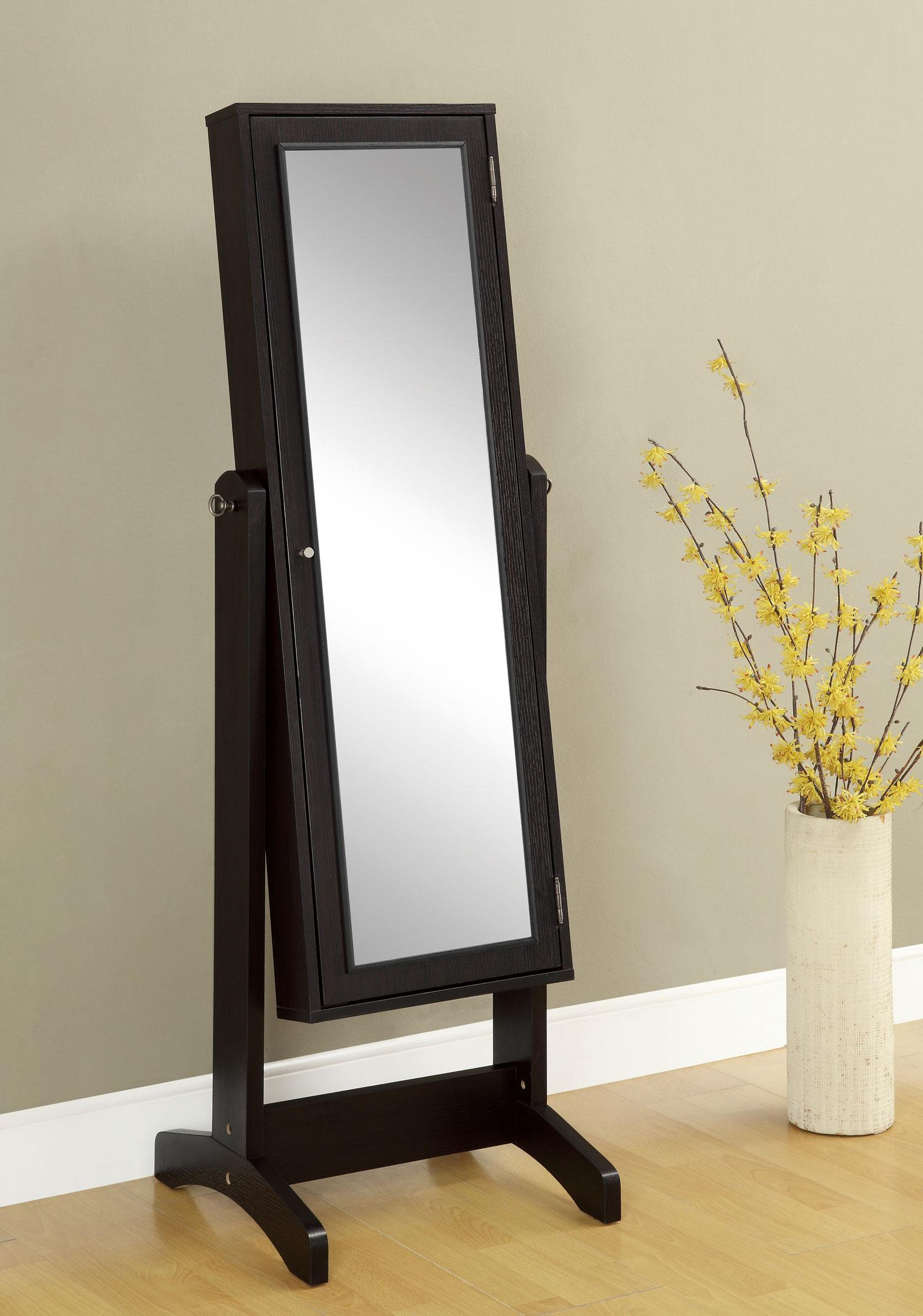 chic wooden standing mirror jewelry armoire in black before the olive wall matched with wooden floor for living room decor ideas