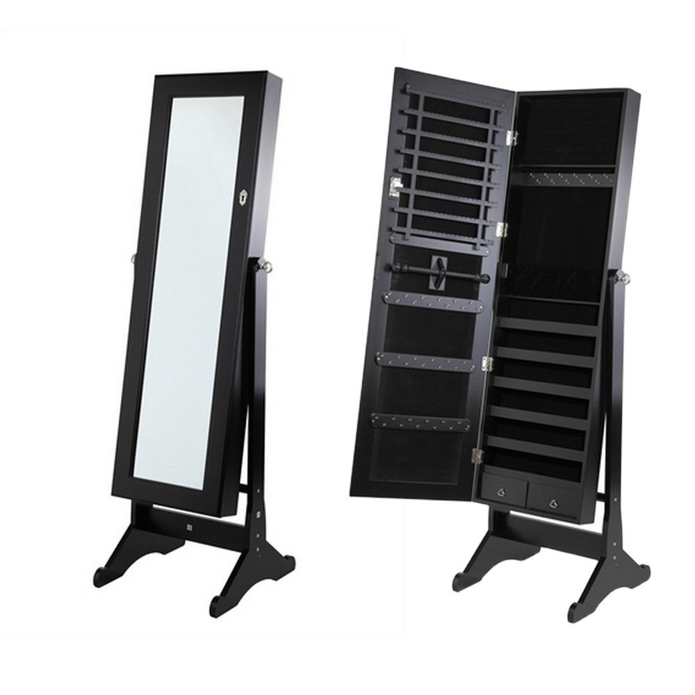 chic wooden standing mirror jewelry armoire in black for home decor ideas