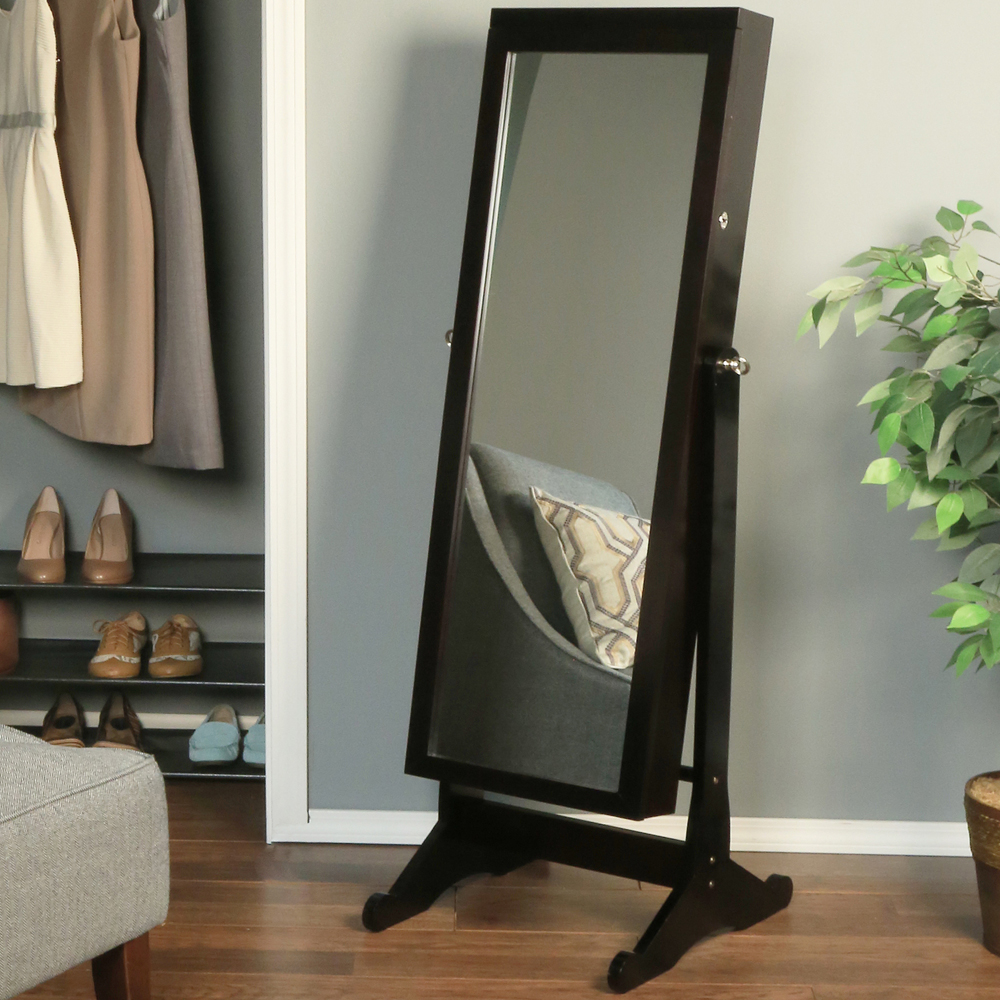 Chic Wooden Standing Mirror Jewelry Armoire In Black On Floor Matched With Blue Wall Plus