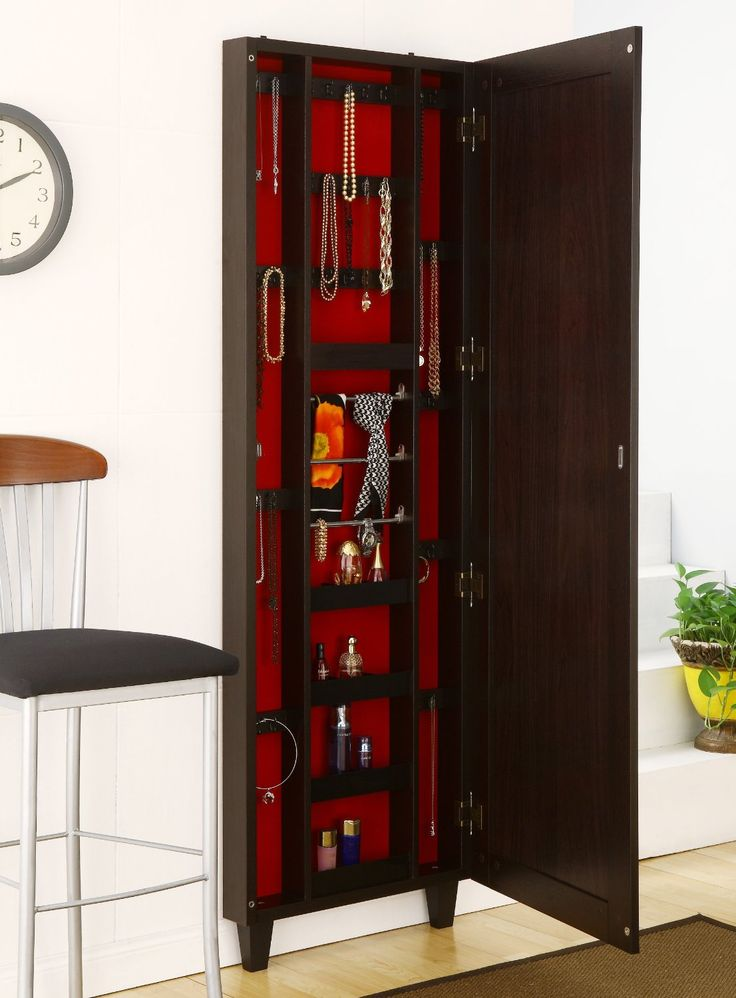 Chic Wooden Standing Mirror Jewelry Armoire In Brown With Red Theme Inside For Home Furniture Ideas