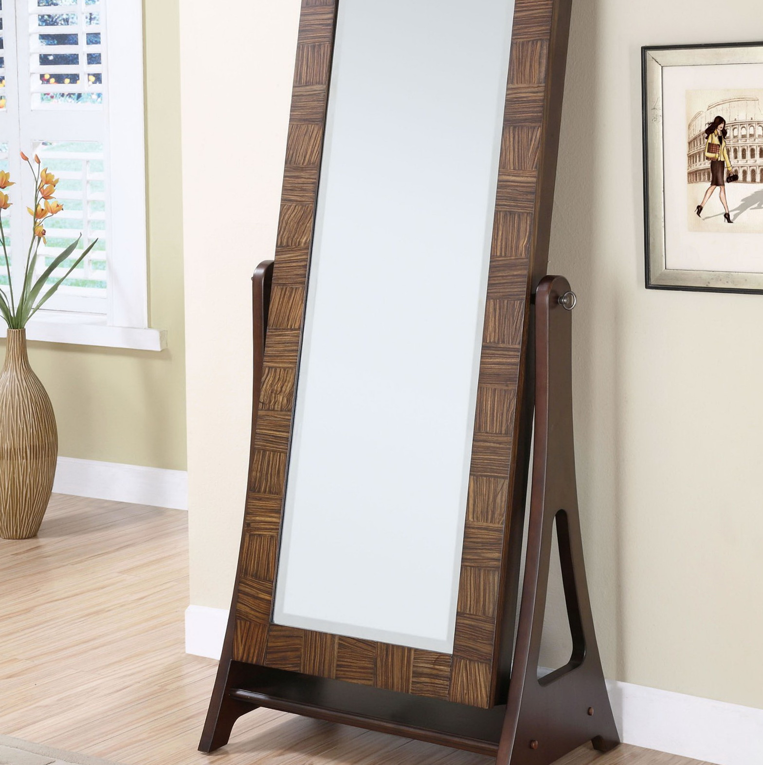 chic wooden standing mirror jewelry armoire in chestnut brown on wooden floor before the white wall for living room decor ideas