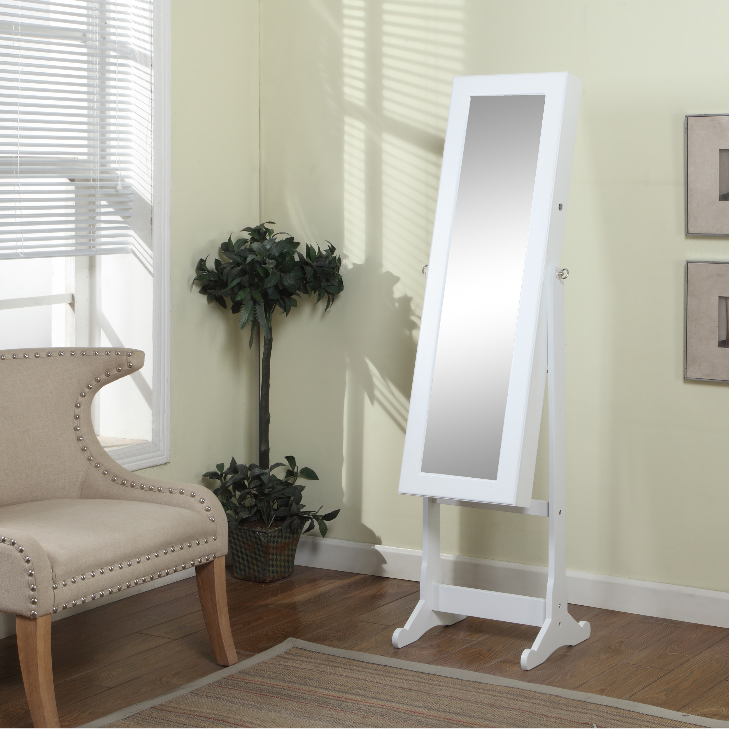Chic Wooden Standing Mirror Jewelry Armoire In White Before The Green Sea Wall Plus Cream Sofa For Living Room Decor Ideas