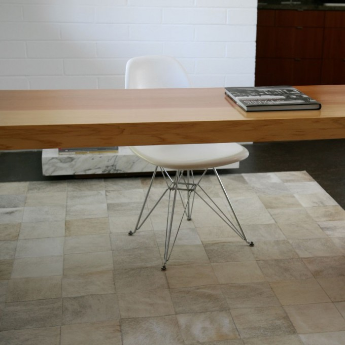 Classic Cowhide Patchwork Rug In Creamy White With Checked Motif For Floor Decor Ideas
