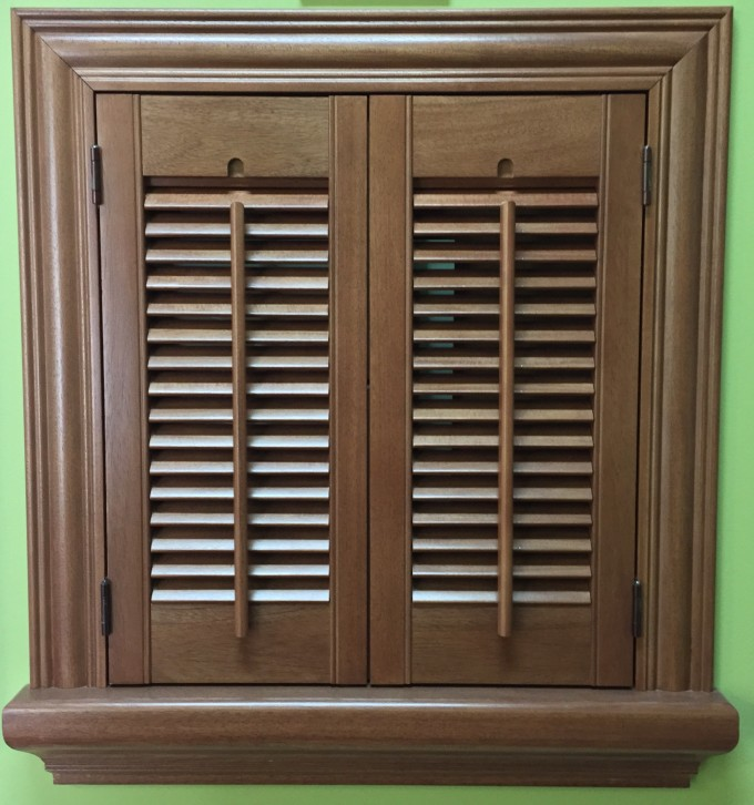 Colonial And Traditional Sunburst Shutters In Brown For Home Ideas