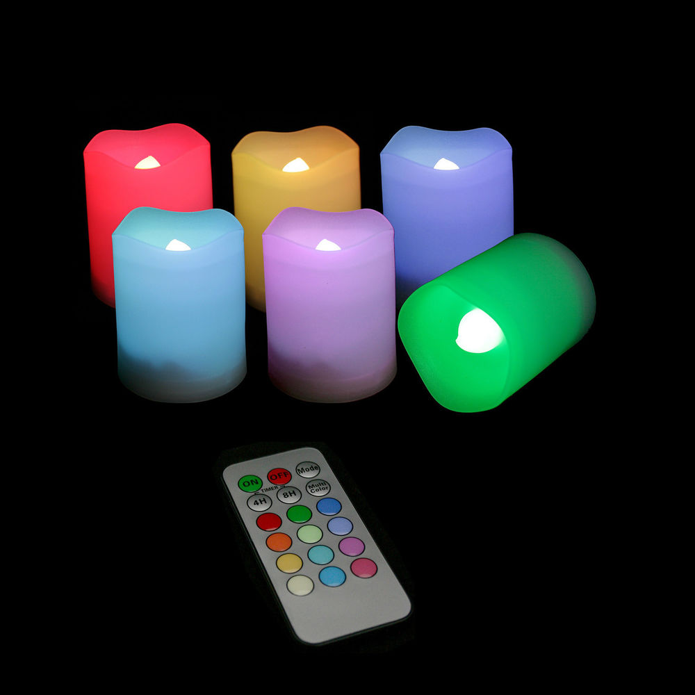 colorful flameless candles with timer for home decoration ideas