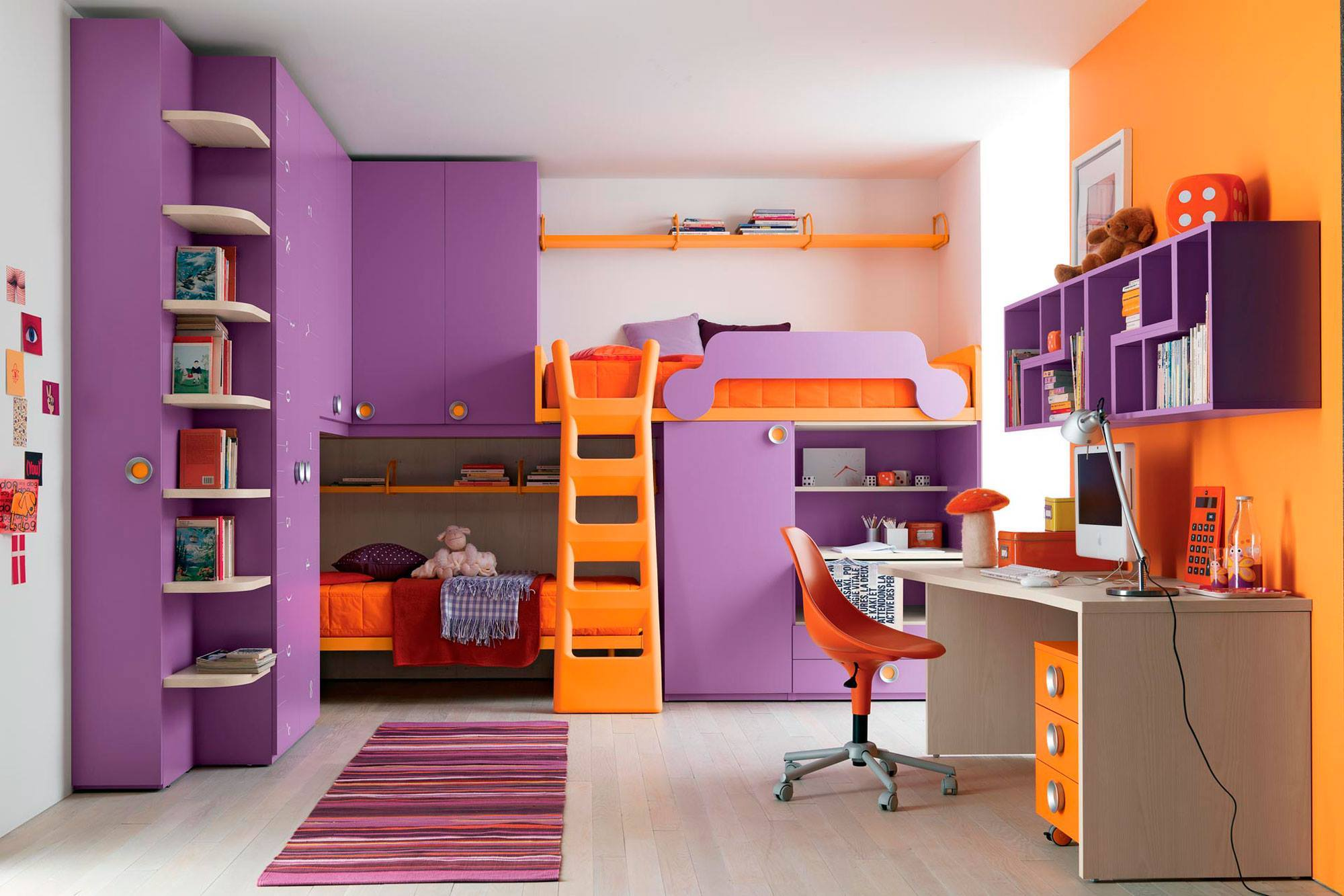 colorful teens bedroom decor with loft beds for teenagers with wardrobe and book rack plus desk ideas