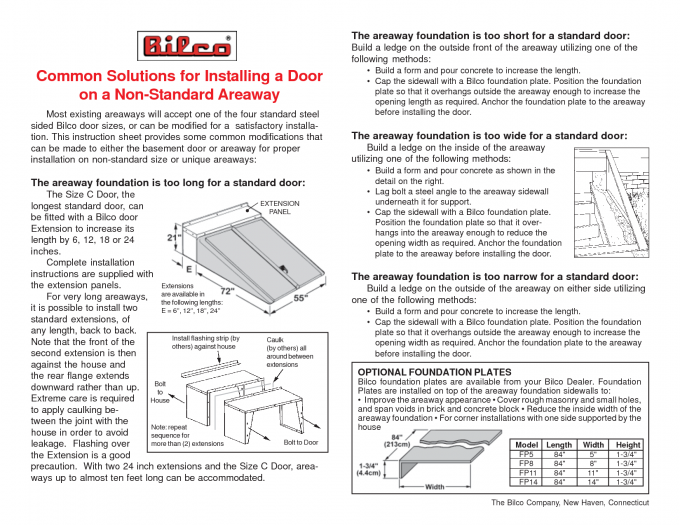Common Solutions For Installing A Bilco Doors On A Non Standard Areaway