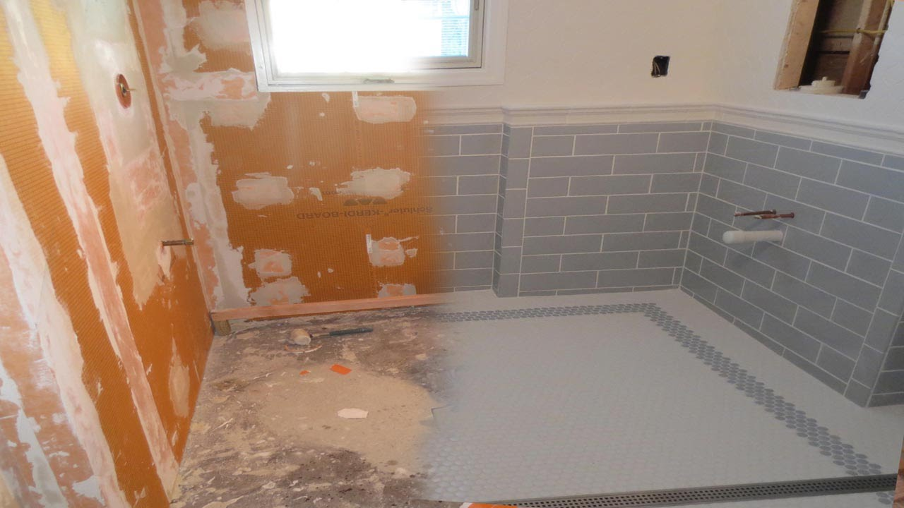 Complete tile installation Schluter Kerdiboard and Walker Zanger tile wall for bathroom decor ideas
