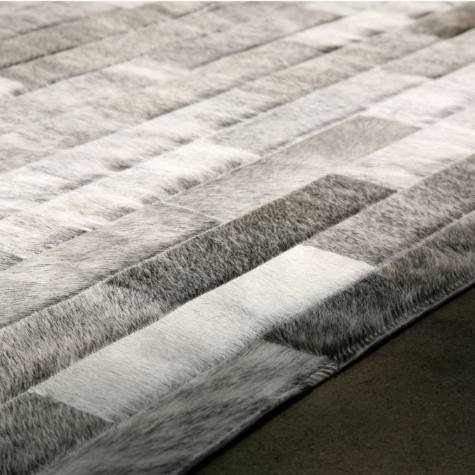 Contemporary Cowhide Patchwork Rug In Gray With Checked Motif