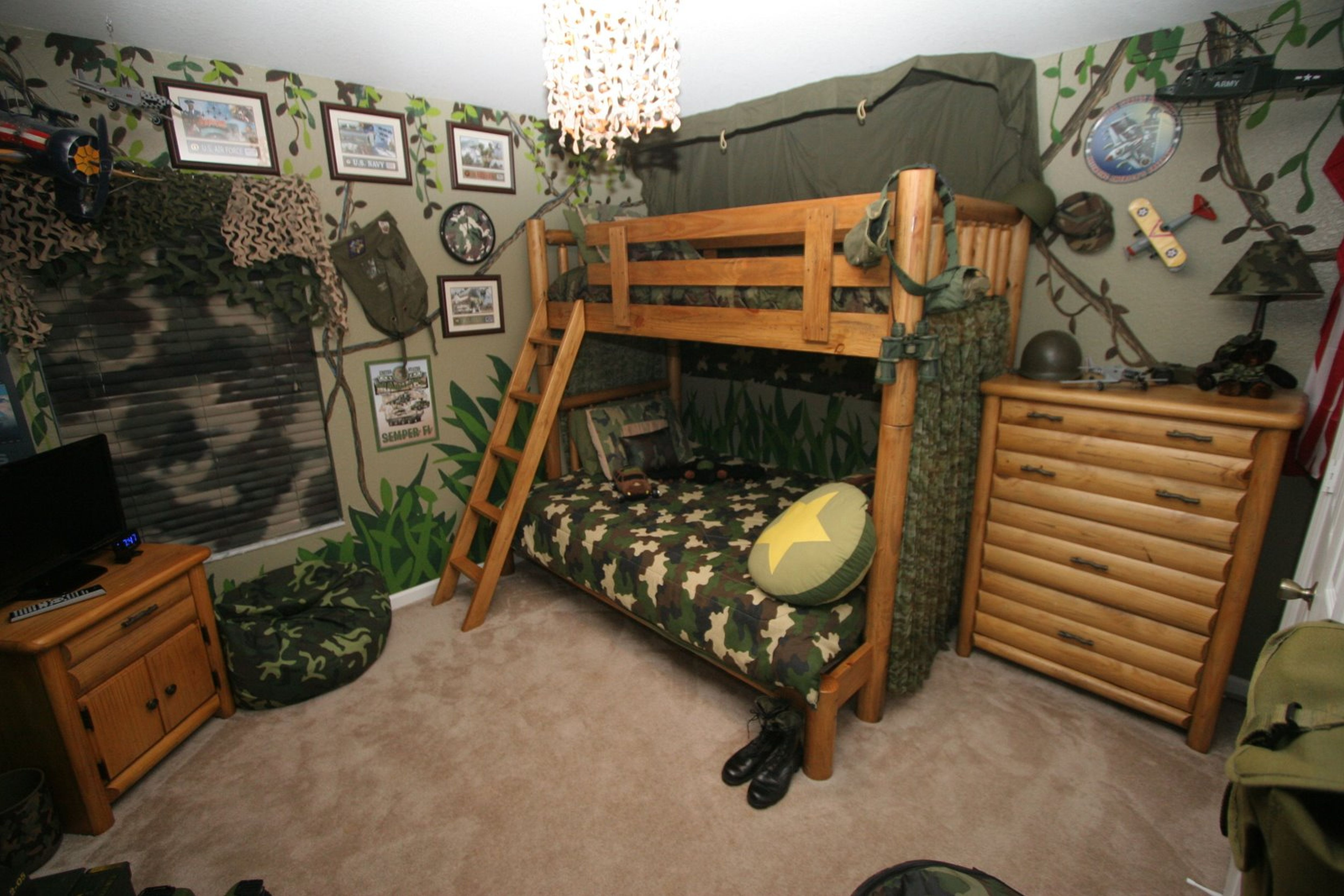 cool boy bedroom design with army theme with loft beds for teenagers and tv stand plus bamboo dresser ideas
