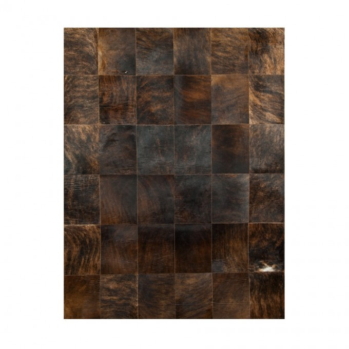 Cool Cowhide Patchwork Rug In Dark Brown With Checked Motif For Floor Decor Ideas