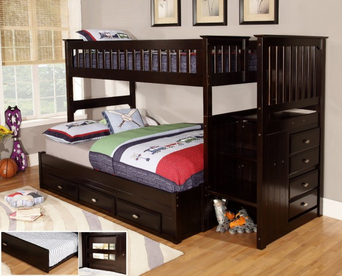 Cool Espresso Wood Bunk Beds With Stairs And Storage On Wooden Floor Matched With Gray Wall With Picture And Window For Boy Bedroom Decor Ideas