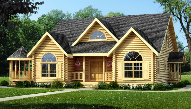 cool exterior design of Southland Log Homes with single hung windows and arch plus dark roof ideas