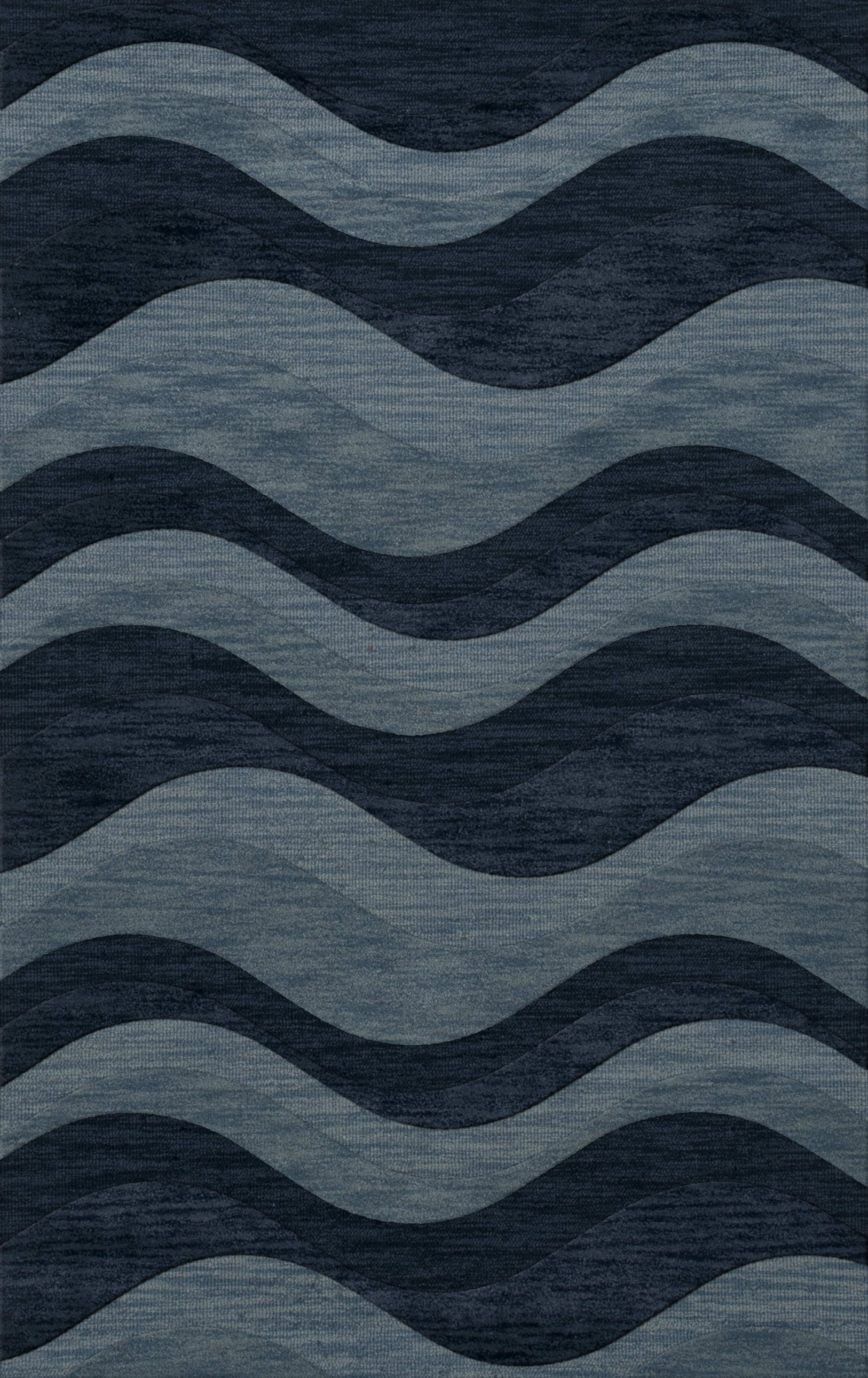 Cool rectangle dalyn rugs in blue waves motif for floor decor ideas