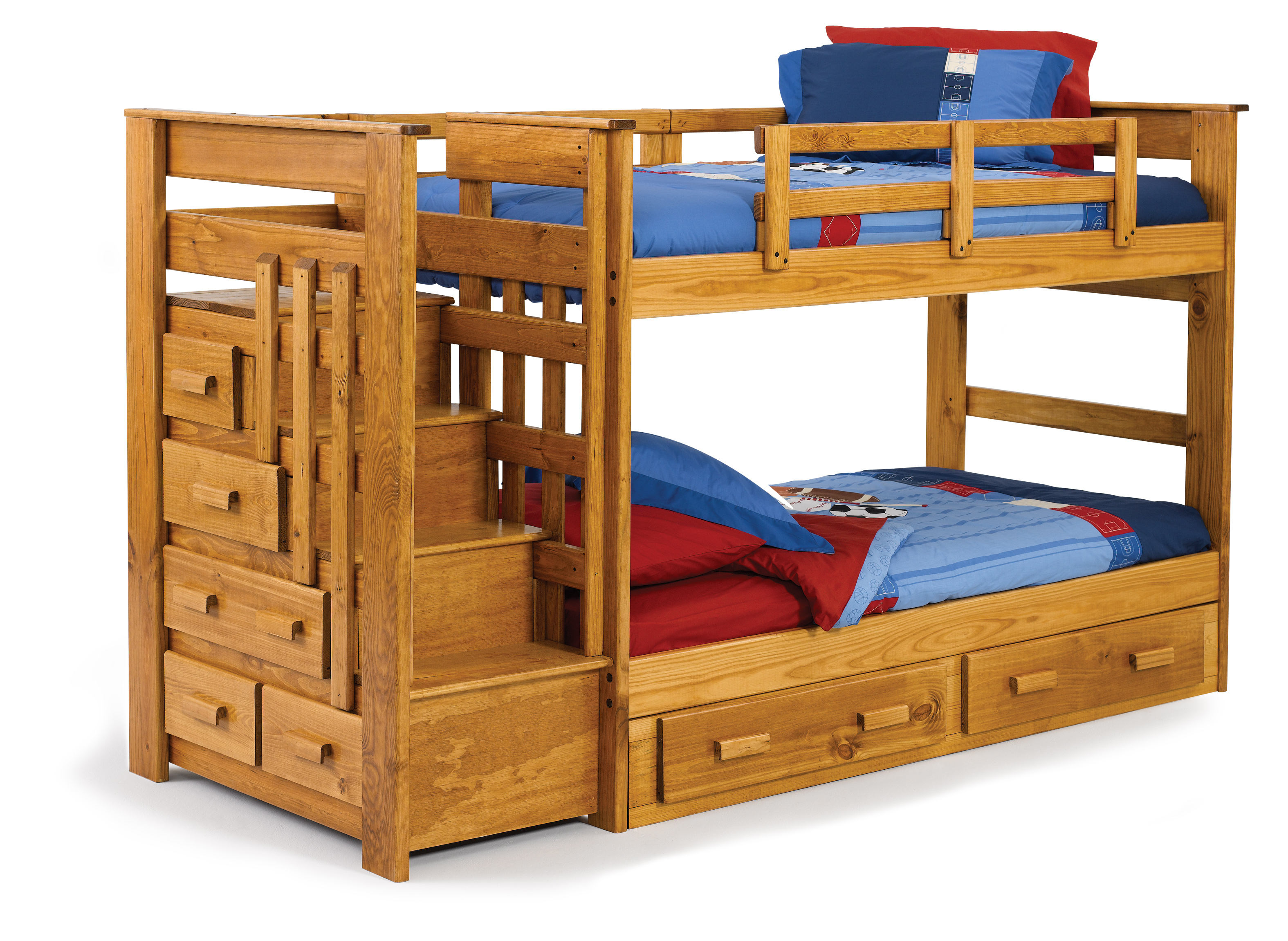 cool wood Bunk Beds With Stairs and drawers plus blue and red bedding for teen bedroom decor ideas