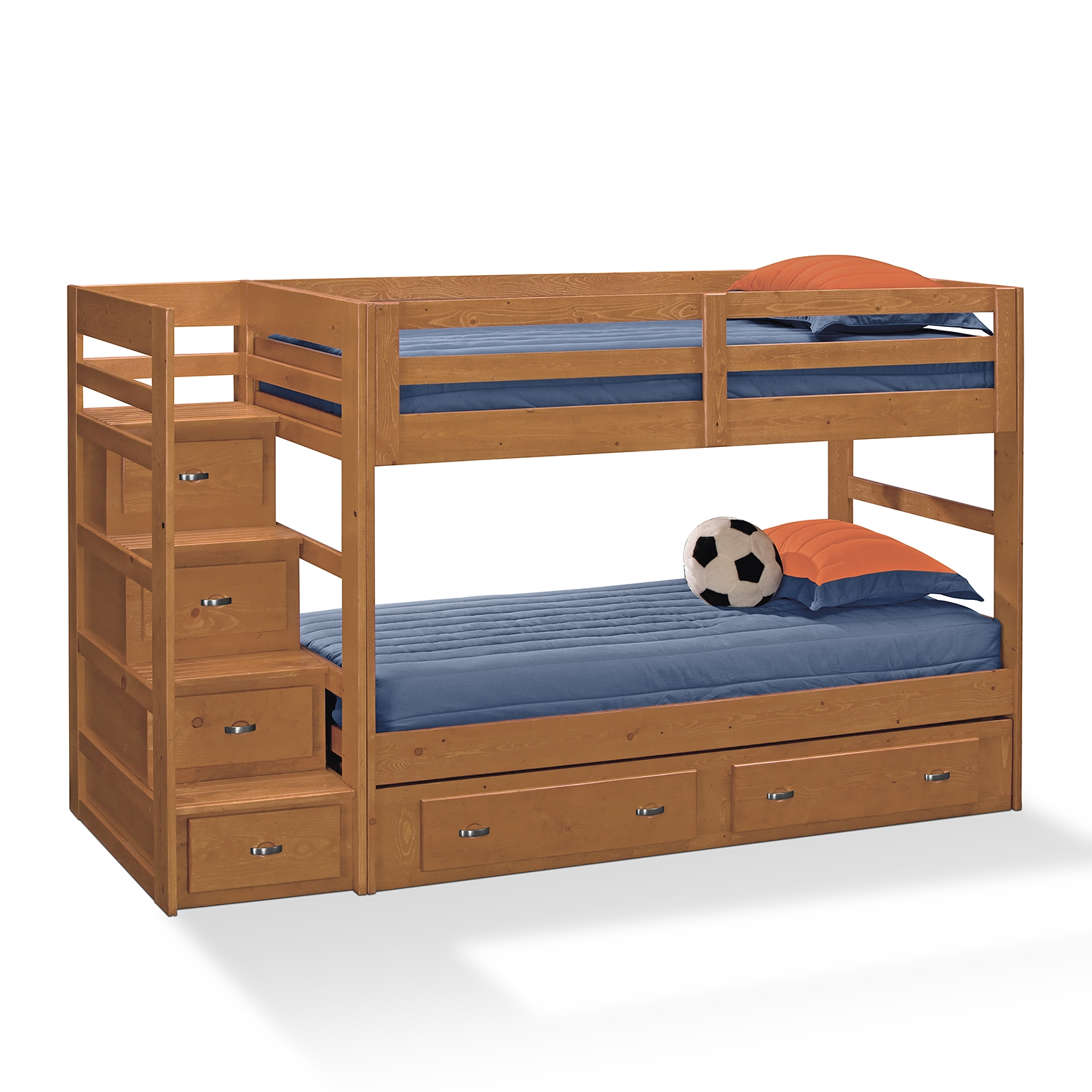cool wood Bunk Beds With Stairs and drawers plus blue bedding for boy bedroom decor ideas