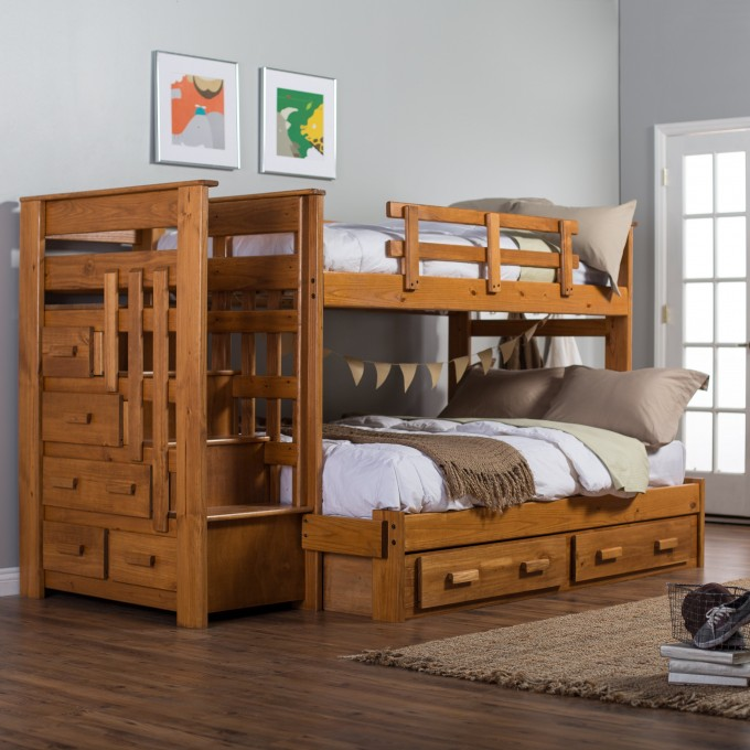 Cool Wood Bunk Beds With Stairs And Drawers Plus White Bedding On Wooden Floor Matched With Blue Wall For Teen Bedroom Decor Ideas