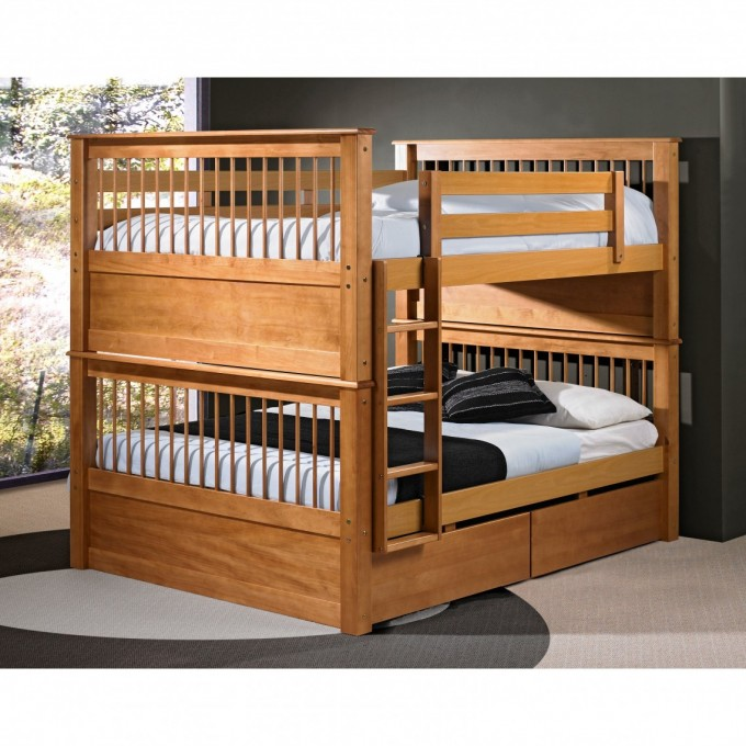 Cool Wood Bunk Beds With Stairs And White Bedding Set Before The Dark Wall Matched With Wooden Floor With Rug For Teen Bedroom Decor Ideas