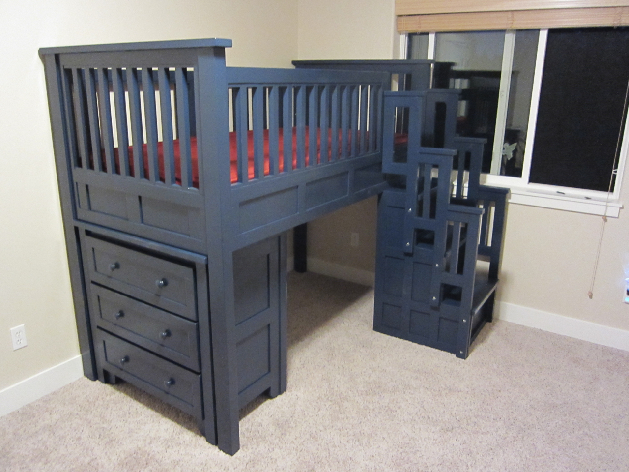cool wooden Bunk Beds With Stairs in blue before the beige wall for teen bedroom decor ideas