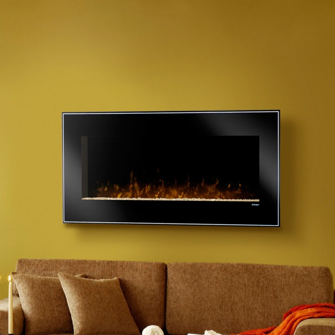 Cozy Black Dimplex Electric Fireplaces On Yellow Wall Plus Mocha Sofa With Cushion For Family Room Decor Ideas