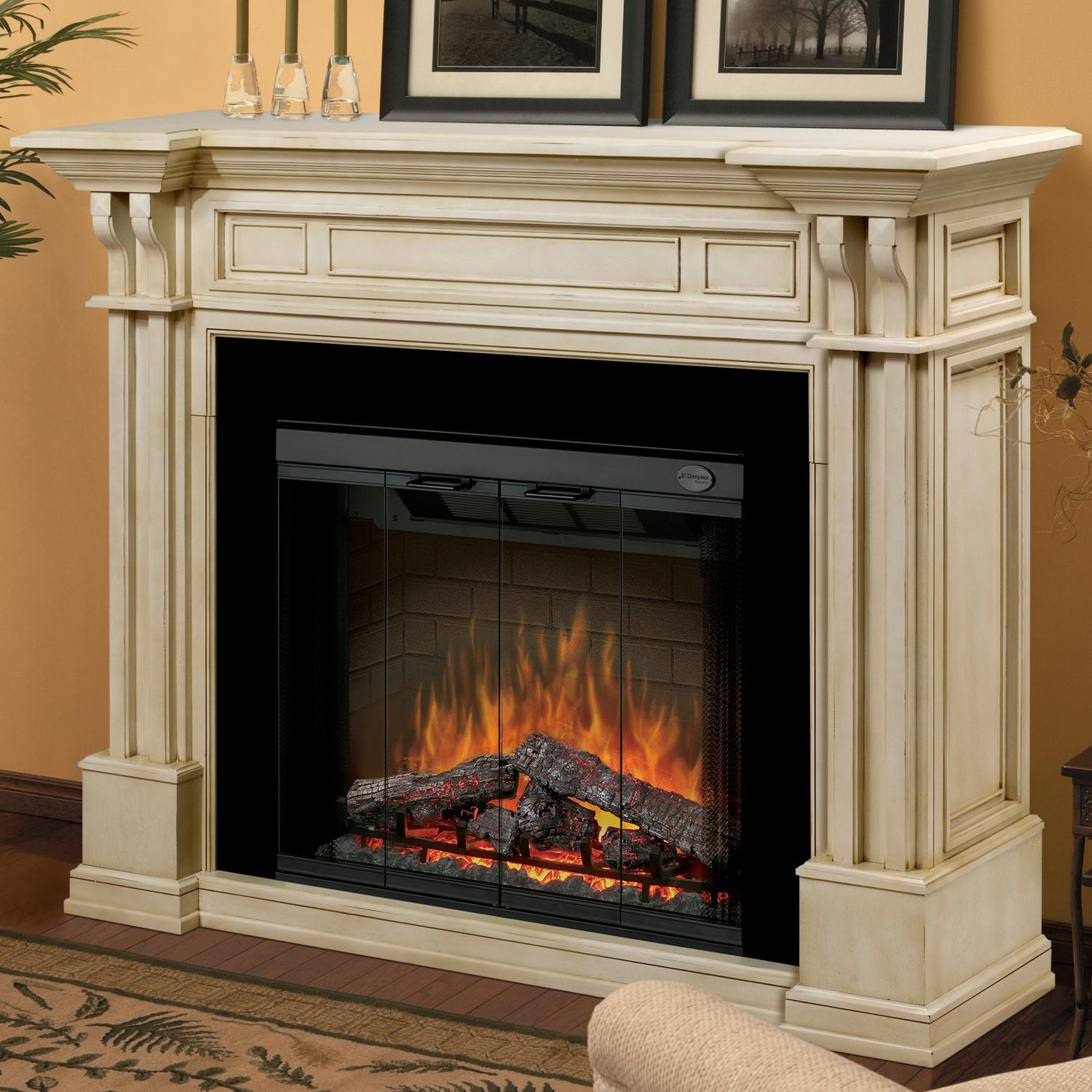 cozy black framed dimplex electric fireplaces with white mantel kit before the orange wall matched with wooden floor with rug for family room decor ideas