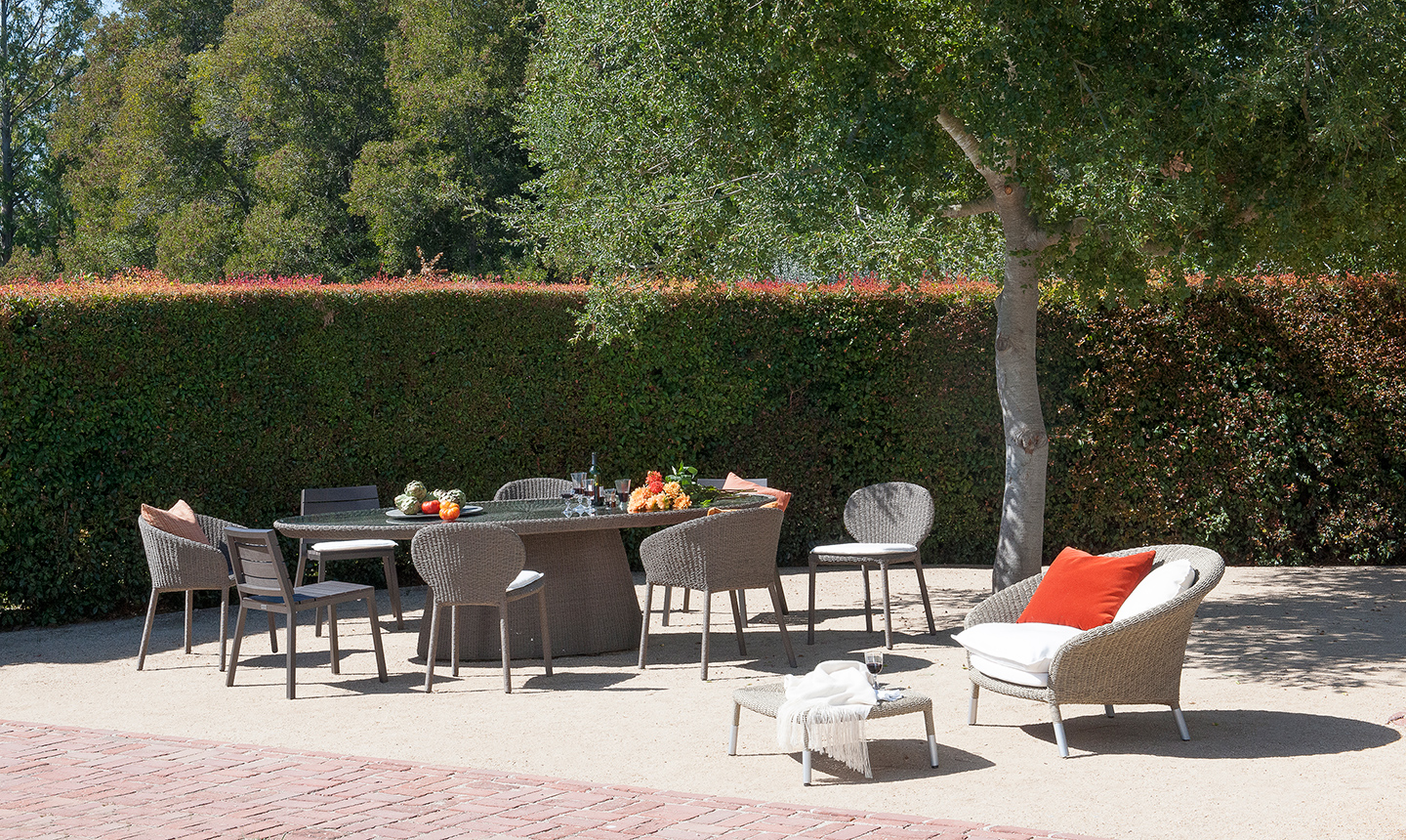 Cozy Dining Table Set In Tan By Janus Et Cie Outdoor Furniture For Patio  Furniture Ideas