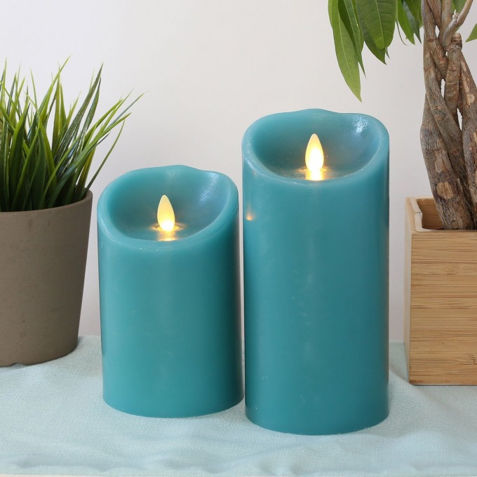 Cozy Flameless Candles With Timer In Blue And Set In Two For Home Decoration Ideas
