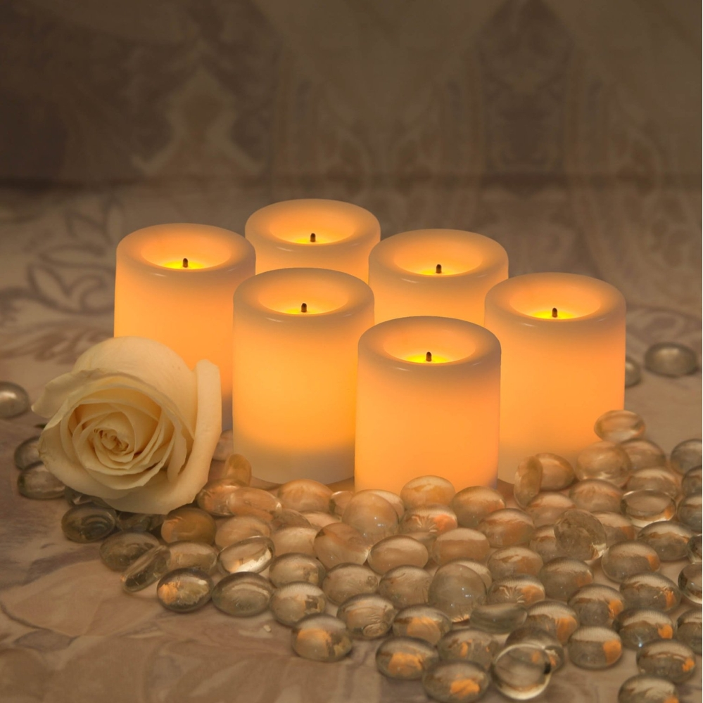 cozy flameless candles with timer set in six for home decoration ideas