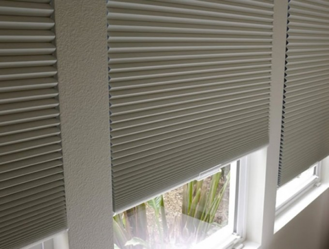 Cozy Glass Window Covered By Levolor Cellular Shades Ideas