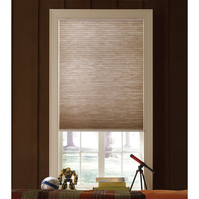 Cozy Glass Window With Trim Board And Levolor Cellular Shades On Brown Wall For Home Design Ideas