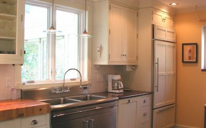 Cozy Kitchen American Woodmark Cabinets In White With Silver Handle And Granite Countertop Plus Sink And Faucet For Kitchen Decor Ideas