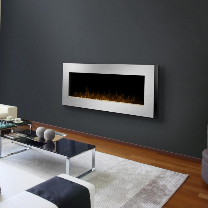 Cozy White Framed Dimplex Electric Fireplaces On Gray Wall Matched With Wooden Floor With White Rug Plus Sofa Set For Inspiring Living Room Decor Ideas