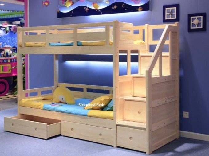 Cozy Wood Bunk Beds With Stairs And Storage Before The Blue Wall Matched With Purple Rug For Teen Bedroom Decor Ideas