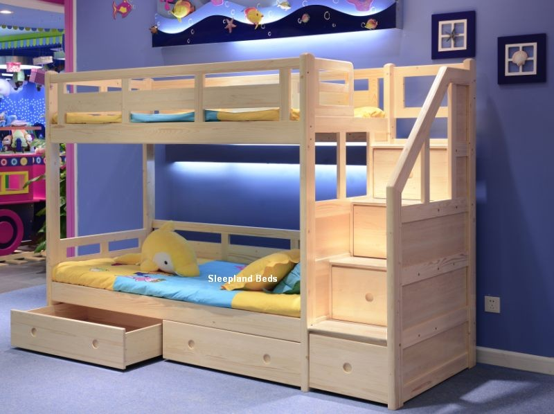 Cozy Wood Bunk Beds With Stairs And Storage Before The Blue Wall Matched Purple Rug