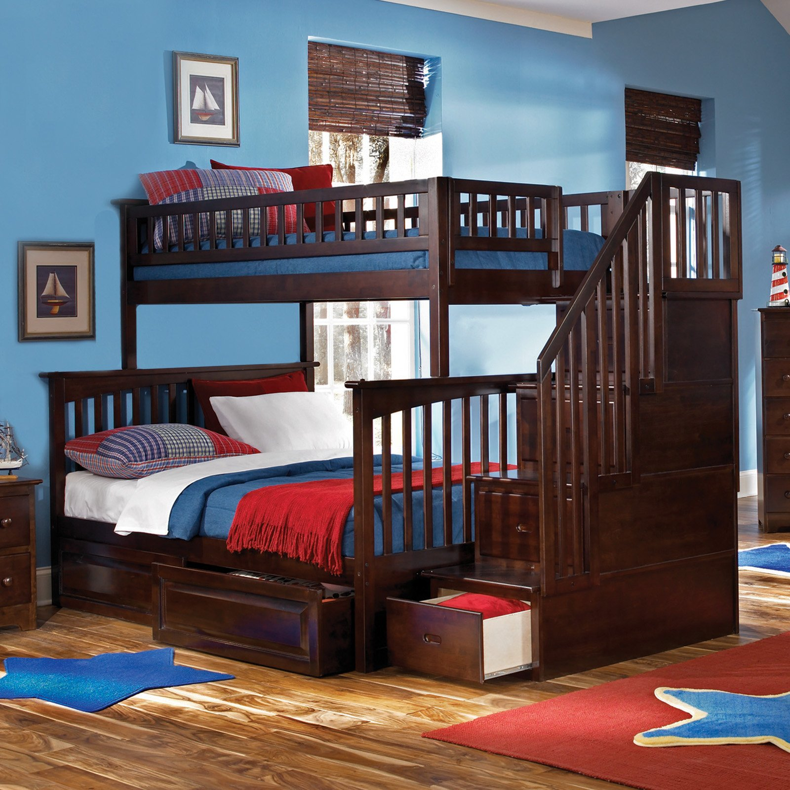 cozy wood Bunk Beds With Stairs in dark brown with drawers on wooden floor with chic rug matched with blue wall with picture for boy bedroom decor ideas