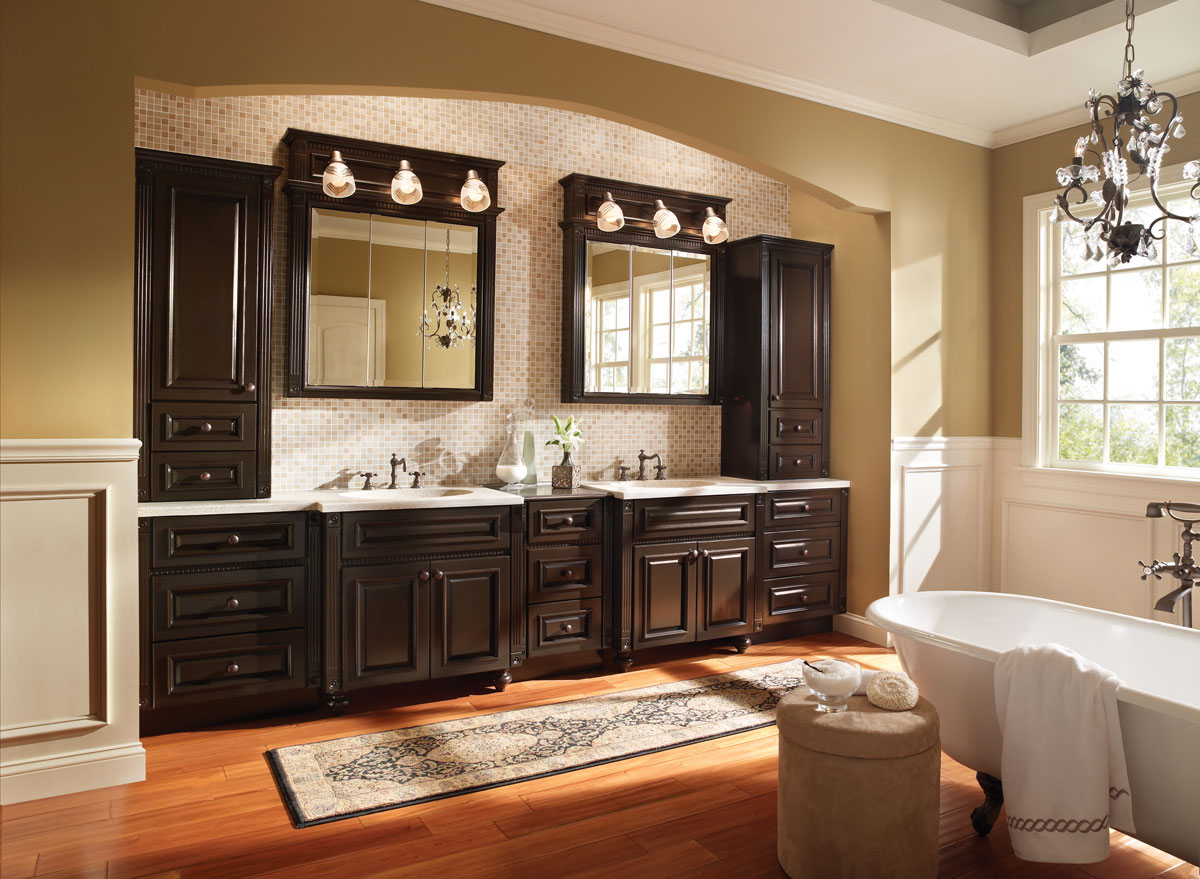 cozy wooden bathroom bertch cabinets in black with countertop and double sinks and faucets before the chic wallpaper with bathroom medicine cabinets with mirror and light for bathroom decor ideas