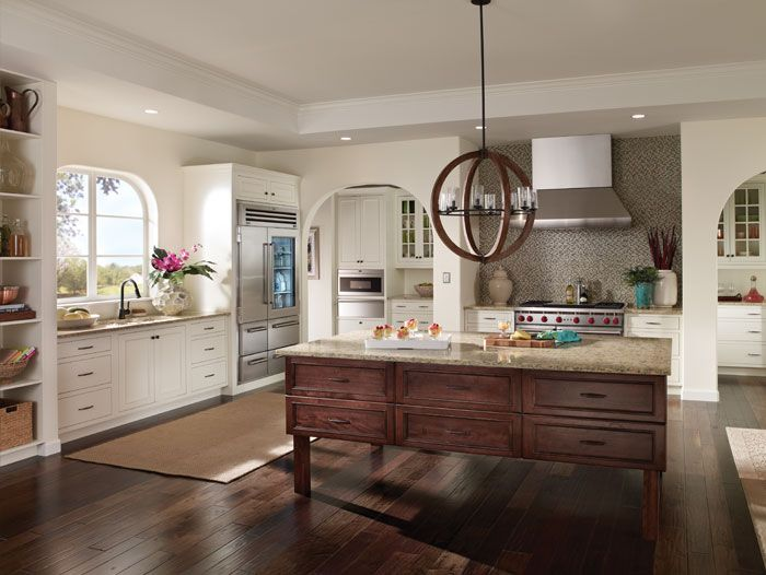 cozy wooden kitchen bertch cabinets in white with stove on wooden floor matched with white wall plus pendant lamp for kitchen decor ideas