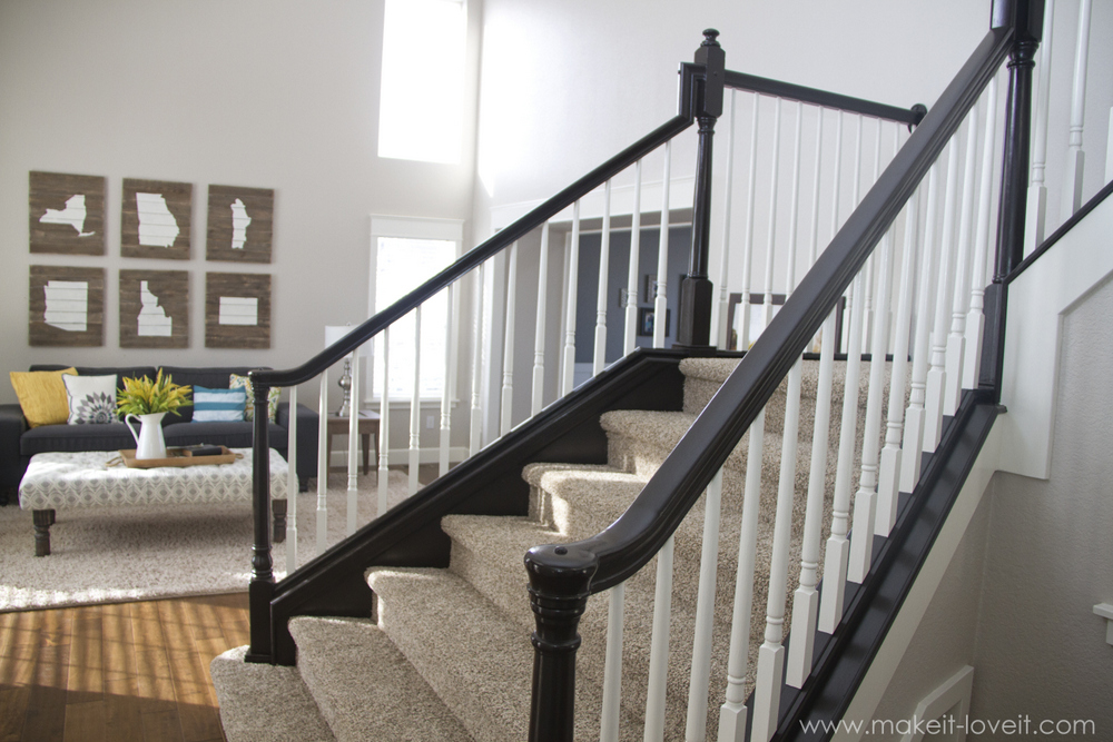 cozy wooden stair railing using general finishes java gel stain in white and black for stair ideas
