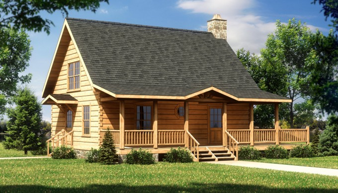 Custom Exterior Design Of Southland Log Homes With Dark Roof And Double Hung Windows Plus Railing Ideas