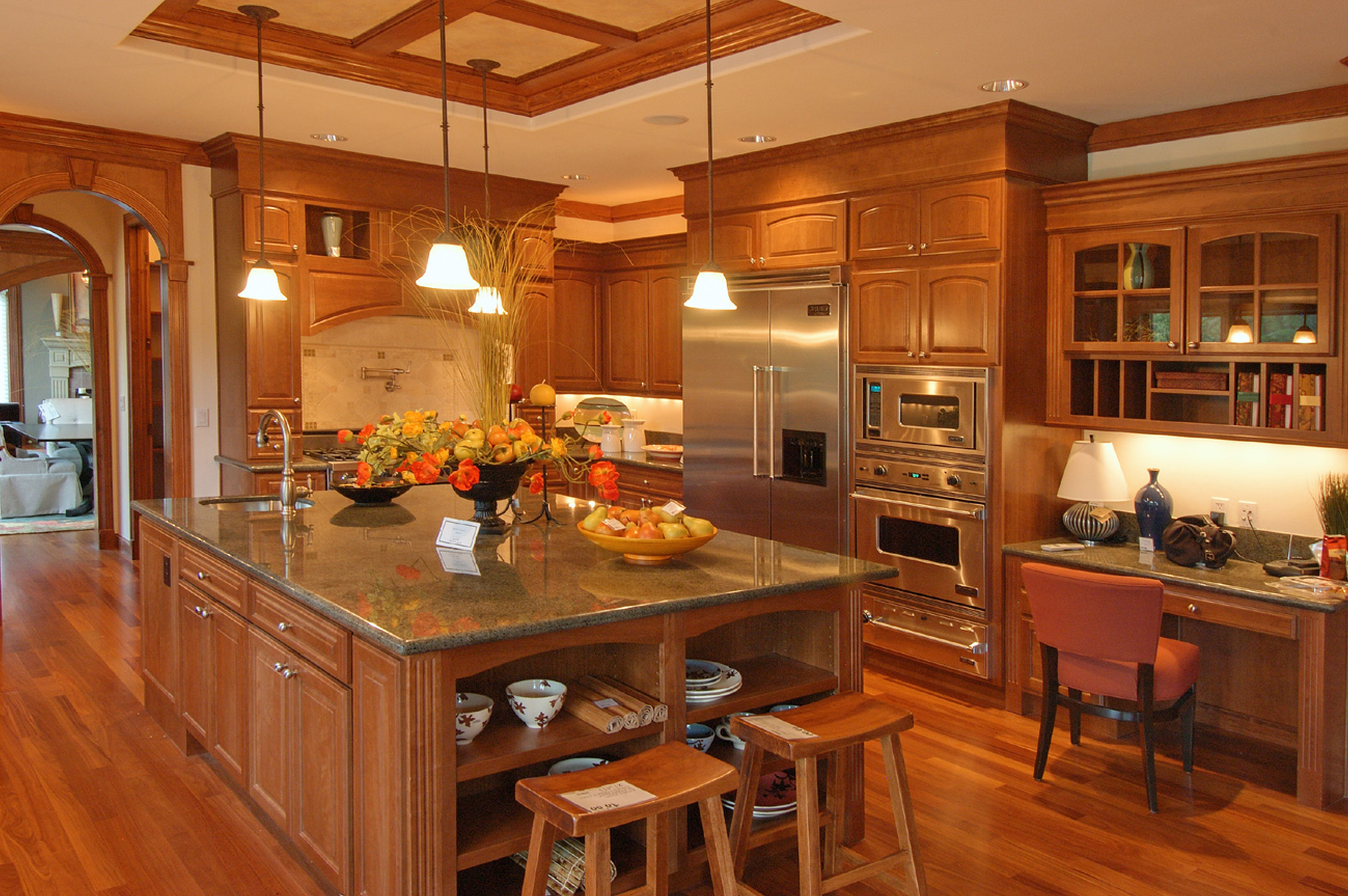 Custom Kitchen American Woodmark Cabinets In Peru With Fridge And Double Oven For Kitchen Furniture Ideas