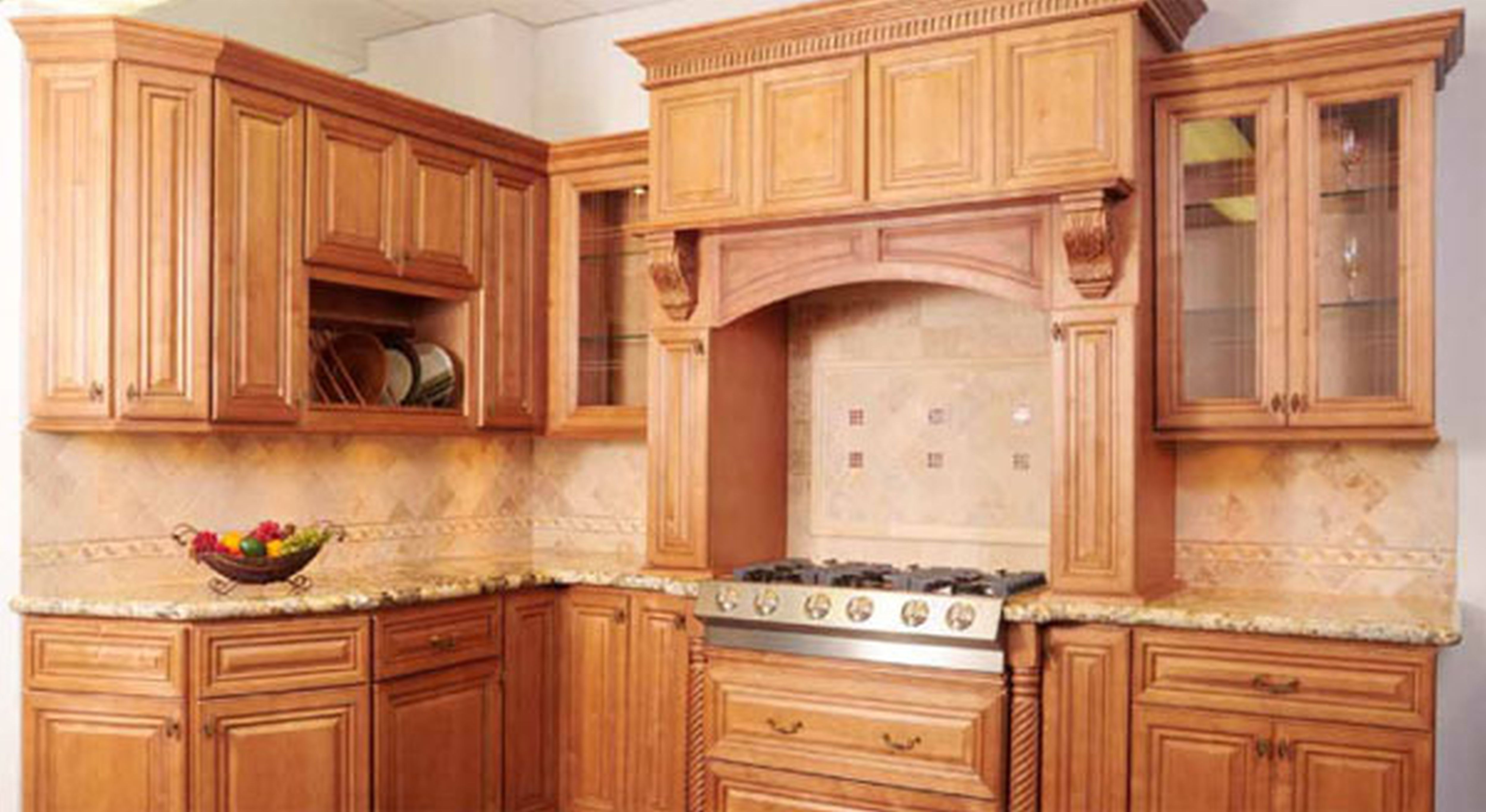 Custom kitchen american woodmark cabinets with granite countertop and stove for kitchen decor ideas